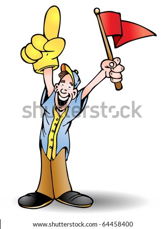 man holding red flag cheering his team isolated on white background - stock photo