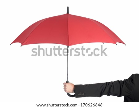 man holding red umbrella, rear view - stock photo