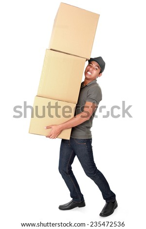 Man Holding some heavy Stack Of Cardboard Boxes On White Background - stock photo