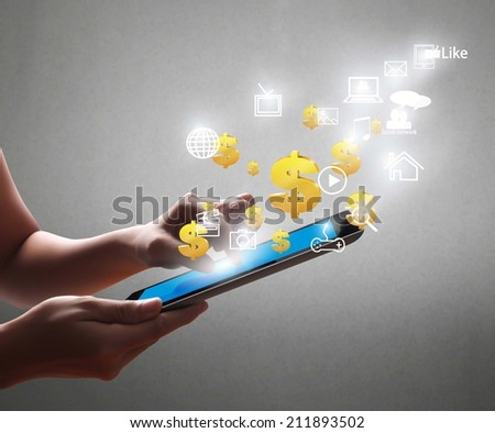 Man holding tablet computer with graphic
