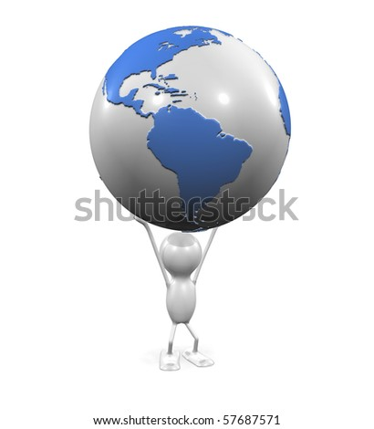 Man holding the Earth - stock photo