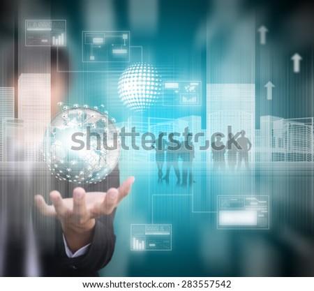 man holding virtual technology , blur image - stock photo