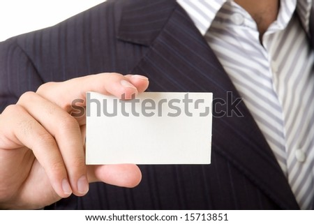 man holds an empty business card. It is ready to your inscription.