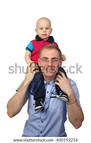 Man holds baby boy on shoulders isolated on white background - Father with little son - stock photo