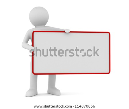 man holds the poster in a hand. 3D image