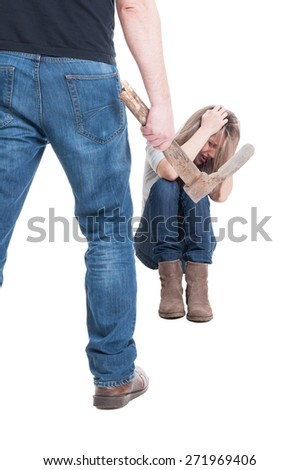Man, husband or boyfriend beating woman, wife or girlfriend with a hoe on white background - stock photo