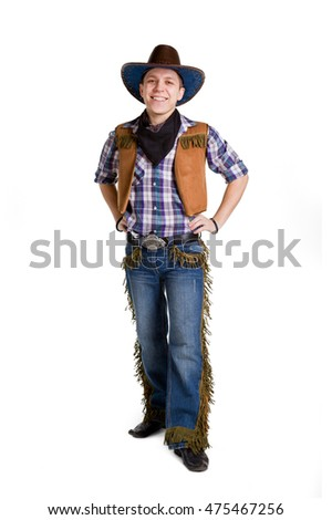 man in a black cowboy hat isolate on the white background