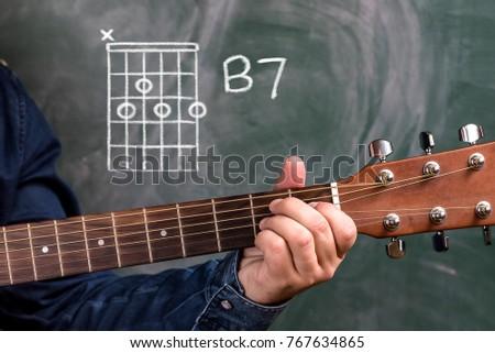 Man Blue Denim Shirt Playing Guitar Stock Photo (Royalty Free ...