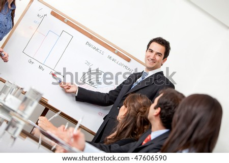 Man in a business meeting displaying the performance of the company - stock photo