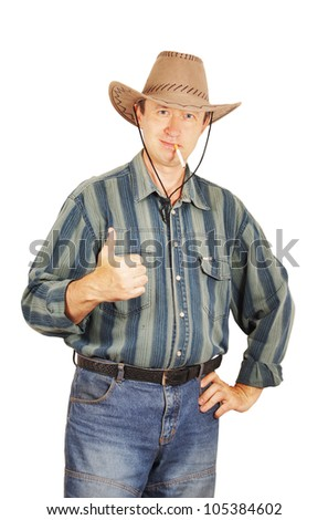 Man in a cowboy hat shows the gesture of Everything is fine!