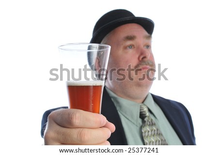 man in a derby hat holding a beer in his hand