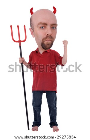 Man in a devil costume with horns and a trident isolated over white - stock photo