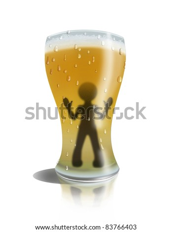 Man in a glass of beer - stock photo