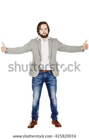 man in a grey jacket holding two hands in front of him and shows the size on white isolated background in studio. human emotion, facial expression, feeling attitude - stock photo