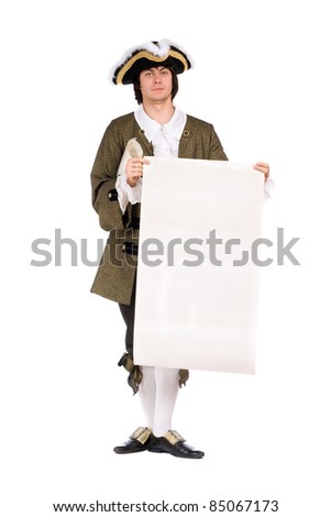 Man in a historical costume with the blank paper in hands