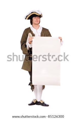 Man in a historical costume with the blank paper in hands. Isolated - stock photo