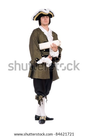 Man in a historical costume with the decree - stock photo