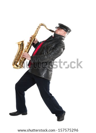 man in a jacket and hat playing a trumpet on a white background