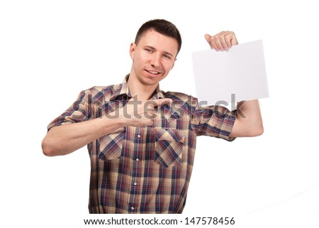 Man in a plaid shirt with blank white board - stock photo