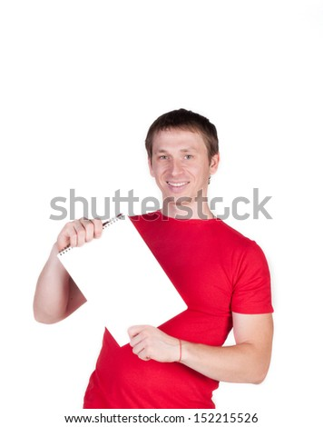 Man in a red shirt smiles and shows a white card, isolated over white - stock photo