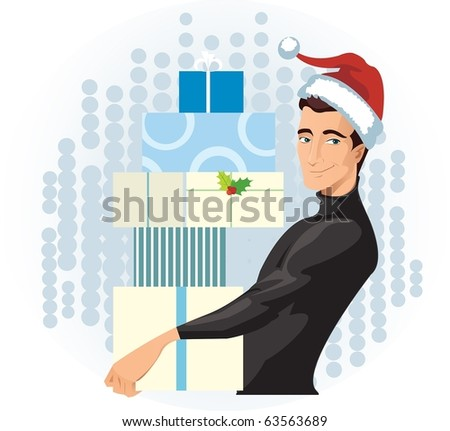 man in a Santa hat with presents - stock photo