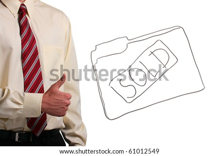 Man in a shirt and a tie showing thumbs up while standing next to a drawing of a folder. Add your text to the folder. - stock photo