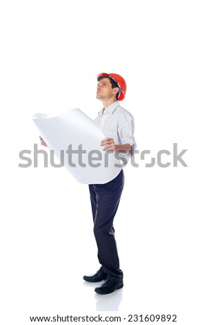 man in a shirt in orange construction helmet with blueprints in hand looking up; isolate background