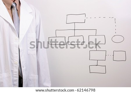 Man in a shirt, tie, and a white lab coat standing next to a drawing of a plan. - stock photo