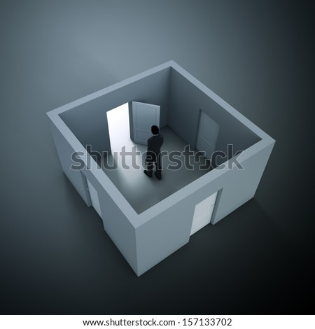 Man in a small room with four doors - decision making metaphor - stock photo