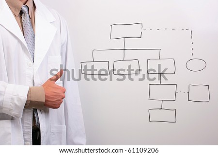 Man in a white lab coat showing thumbs up while standing next to a drawing of a plan.