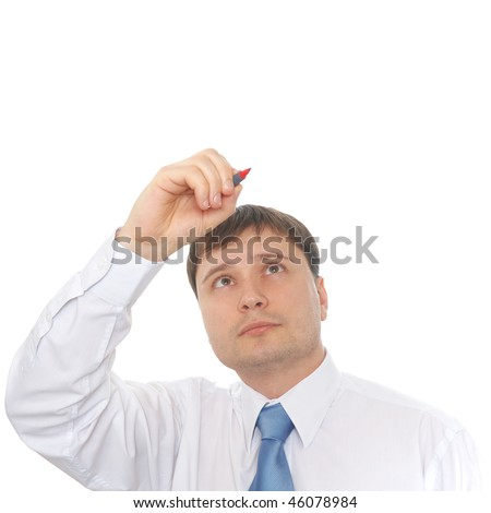 Man in a white shirt wrote marker - stock photo