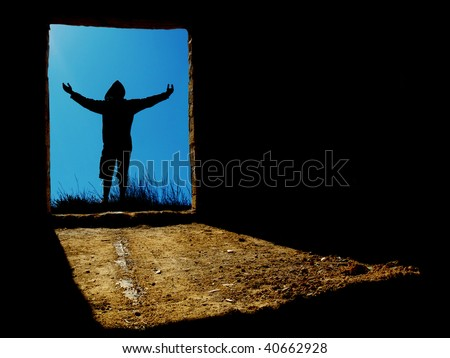 Man in abstraction hole. Conceptual scene. - stock photo