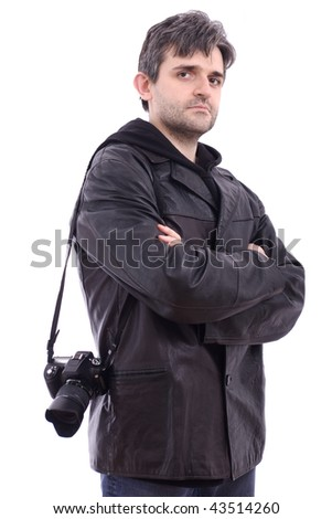 Man in black leather jacket photo SLR camera on white background