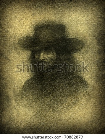 Man in Black. Pencil on paper. - stock photo