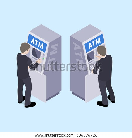 Man in black suit near the ATM. Illustration suitable for advertising and promotion - stock photo