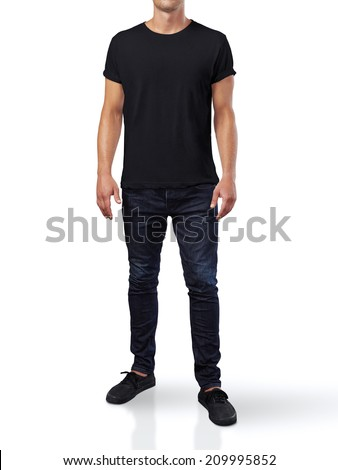 Man in black t-shirt. Isolated on white. - stock photo