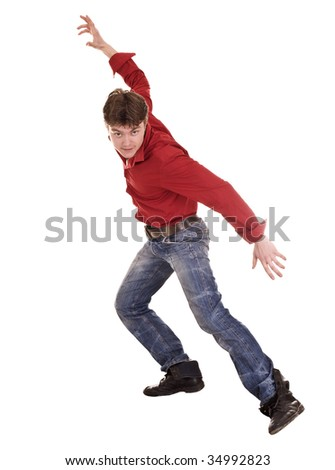 Man in blue jeans dance. Isolated.