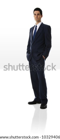 man in blue suit full front shot on white