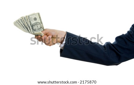 man in blue suit holding us money to give