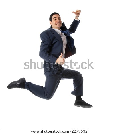 man in blue suit jumping with thumbs up