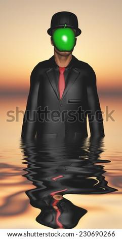 Man in dark suit hidden face partly underwater - stock photo