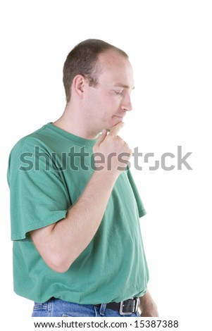 Man in deep thought. - stock photo