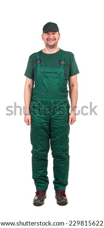 Man in green uniform. Isolated on a white background. - stock photo