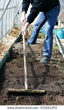 Man in greenhouse leveled the soil with a rake on the gardenbed in early spring