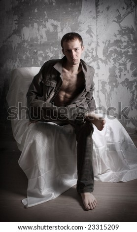Man in grunge apartments - stock photo