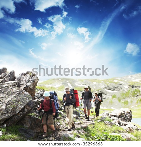Man  in  hike - stock photo