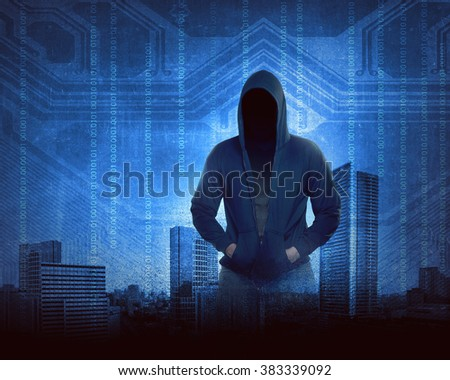 Man in hoodie shirt is hacker. Computer security concept - stock photo