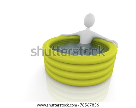 Man in inflatable pool - stock photo