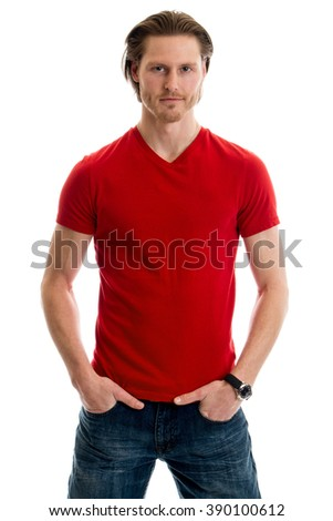 Man in jeans and red tee shirt. Studio shot over white. - stock photo