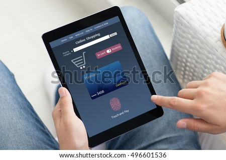 man in jeans holding hands tablet PC computer with online shopping touch and pay